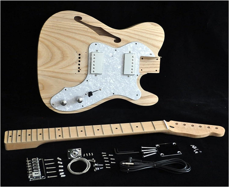 Cuerpo Guitarra Bricolaje Kit De Guitarra Eléctrica Guitarra Delgada De La Vendimia Cuerpo Semi-Hueco Semi-Hueco con Orificios F Cuello De Arce 21 Fretstruss Rod Ajuste Kits Guitarra Bricolaje