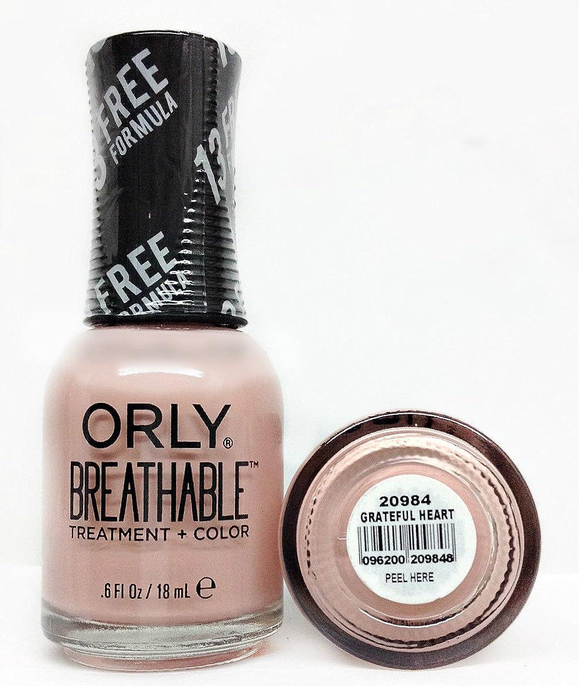 届ける真向こう電気のOrly Breathable Nail Lacquer - Treatment + Color - Grateful Heart - 0.6 oz / 18 mL