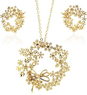 Christmas Deer Necklaces for Women 18K Gold Plated Cut Tree of Life and Elk Hollow Long Necklace Bohemian Jewelry