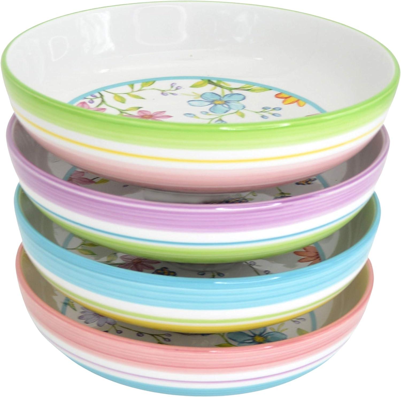 Euro Ceramica Charlotte Collection Pasta Service Set 4 Bowls Reservation favorite of