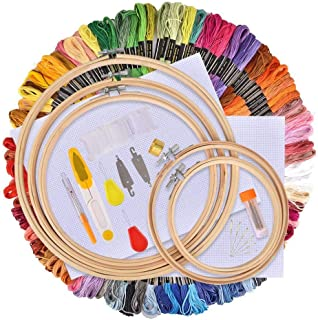 Skeins Embroidery Floss Set, 100 Colors Embroidery Thread Cross Stitch Thread, Friendship Bracelet String Starter Kit for with Organization Box Bamboo Embroidery Hoop