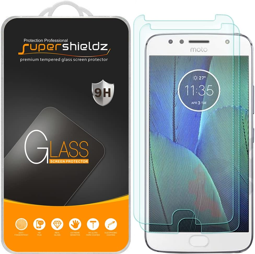 (2 Pack) Supershieldz Designed for Motorola (Moto G5S Plus) Tempered Glass Screen Protector, Anti Scratch, Bubble Free