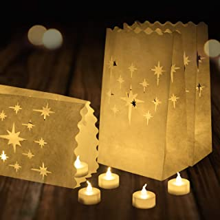 Homemory 24 Pack Flameless Tea Lights with 12 Pack Luminary Bags, Battery Operated LED Tea Lights, Star Luminary Bags, Fake Tea Candles with Realistic Flame, for Wedding, Party, Festival