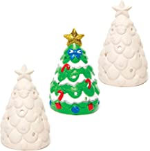 Baker Ross Christmas Tree Ceramic Tealight Holders — Ideal for Kids' Arts and Crafts, Gifts, Keepsakes and More (Pack of 3)