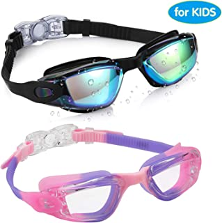 Aegend Kids Swim Goggles, Pack of 2 Swimming Goggles for Children Boys & Girls Age 3-9, Silicone Nose Bridge, Clear Vision, Easy-Adjustable Strap, UV Protection, Anti-Fog, No Leaking