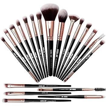 MAANGE Brochas de Maquillaje Profesional 20 Piezas Set de Brochas para Maquillaje Natural Pinceles de Maquillaje Brochas Faciales Maquillaje(negro dorado)