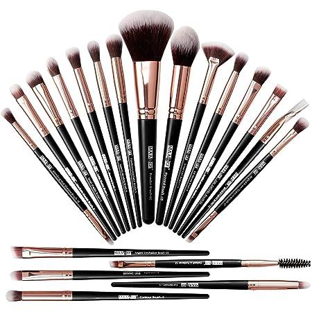 MAANGE-Brochas de Maquillaje Profesional 20 Piezas Set de Brochas para Maquillaje Natural Pinceles de Maquillaje Brochas Faciales Maquillaje(negro dorado)