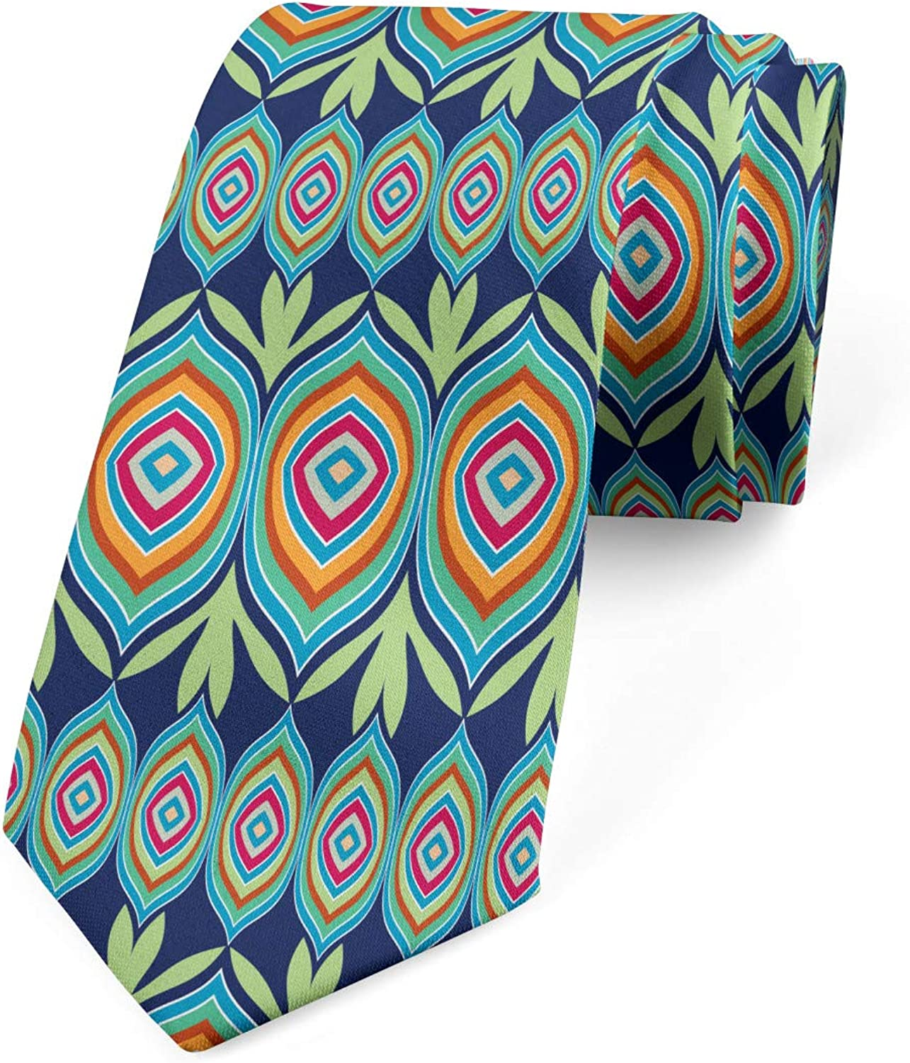 Ambesonne Men's Tie, Abstract Colorful Shapes, Necktie, 3.7