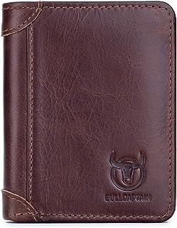 2 ID Windows Mens Wallets Slim RFID Blocking Genuine Leather Wallet QB031 (Coffee)