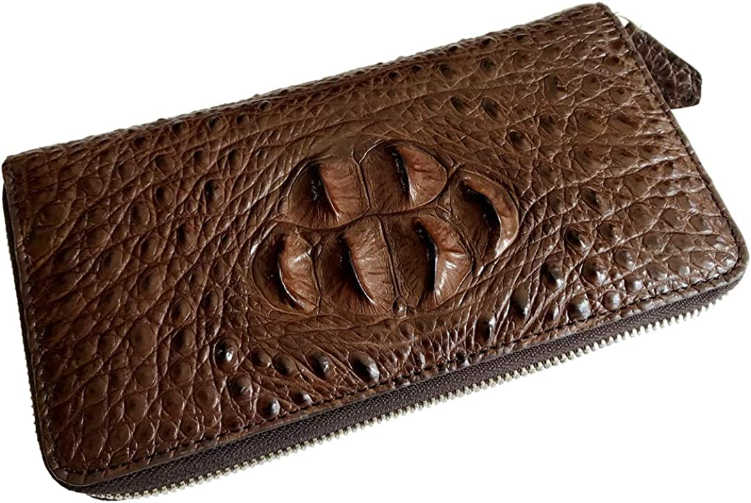 CHERRY CHICK Men's Authentic Crocodile Skin Long Wallet Alligator Wallets Leather Card Holder Clutch Birthday Gift