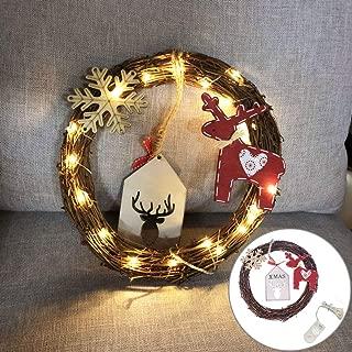 Narutosak 20LED Circle Wreath Deer Snowflake Rattan Christmas Tree Ornament Wall Decor