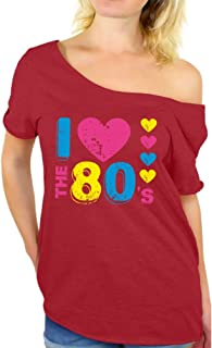 Women's I Love The 80's Off The Shoulder Tops for Women T Shirts for 80's Fans