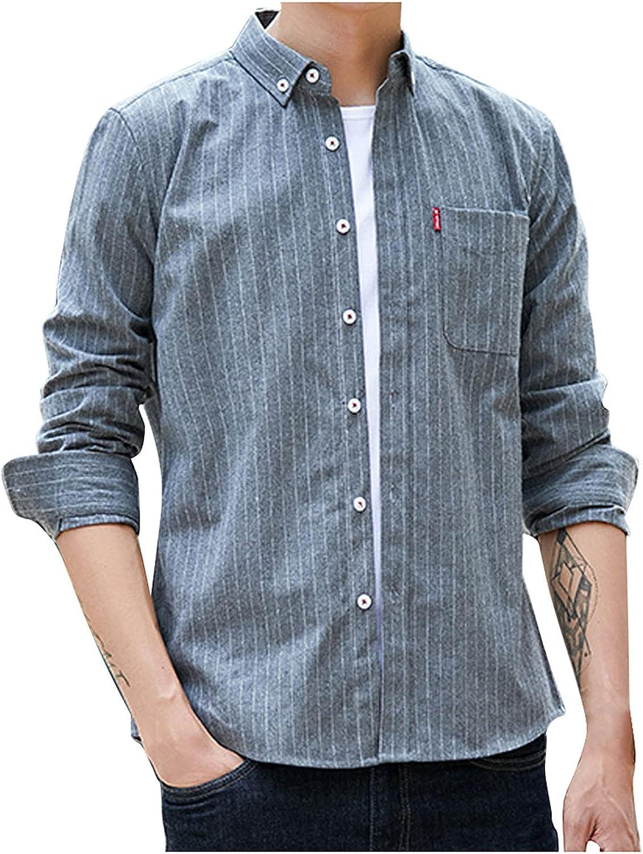 Men's Casual Dress Shirt Button Down Shirts Long-Sleeve Denim Work Shirt Mens Classic Business Dress