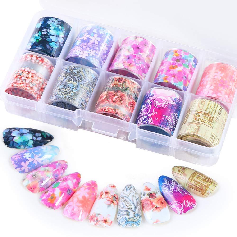 Flower Nail Art Foil Transfer Bloom Stickers 10Rolls Max 57% Washington Mall OFF Retro Vine