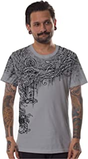 Mens Print T-Shirt All Seeing Nature Graphic Gray Festival Going Out Top