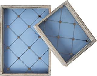 RED FIG HOME Lilac Diamond Decorative ServingTray Set Includes 2 Wood and Glass Trays with Blue Distressed Finish and Silver Pattern Accent for Home Decor