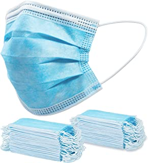Disposable Face Mask - Pack of 50 Blue Non Woven Breathable Protective Masks with 3 Ply Layers of Shielding, Ear Loop Style