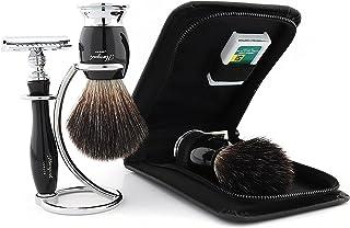 Haryali London Luksusowy męski zestaw do golenia z podwójną krawędzią maszynka do golenia z czarną syntetyczną szczotką do...
