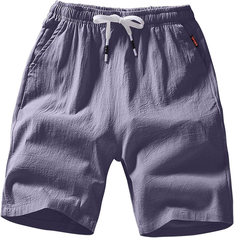 LEIYAN Mens Linen Shorts Casual Stretch Waist Loose Beach Capri Yoga Cotton Shorts Outdoor Quick Dry Swimming Shorts