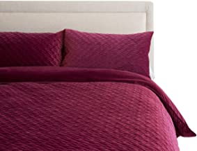 Canningvale Velluto Velvet King Embroidered Pattern Reversible Quilt Cover Set Scuro Pink Bedroom