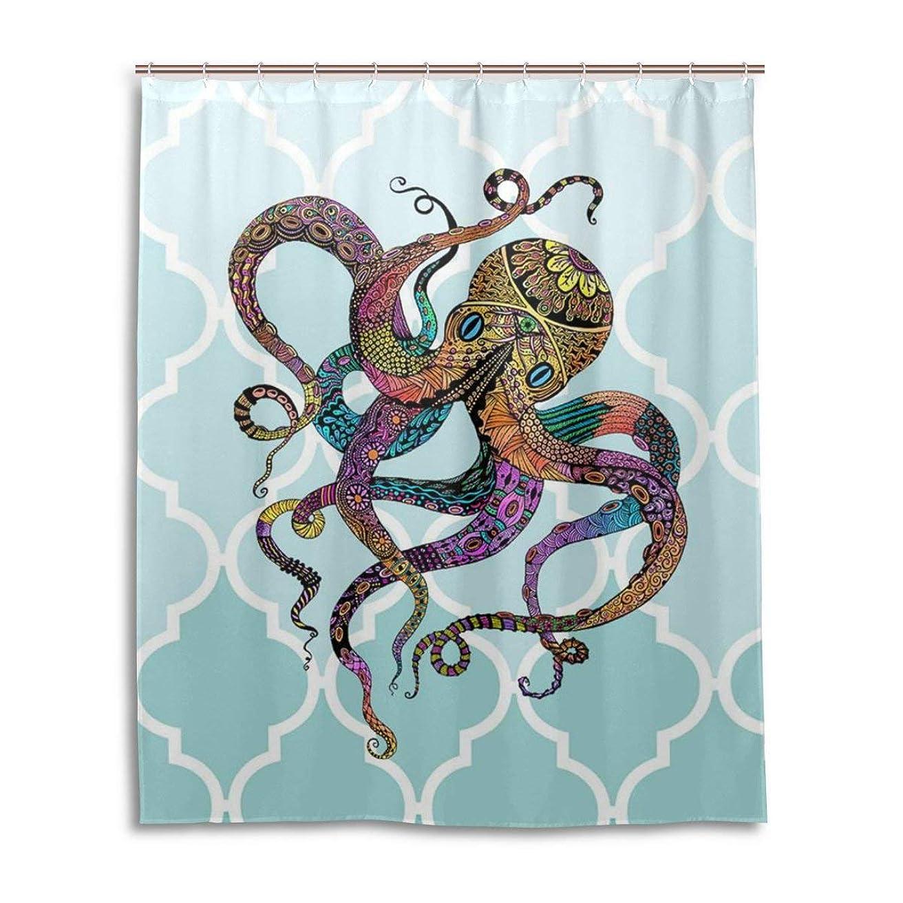オープナーコーラス石炭MIMUTI装飾シャワーカーテンオクトパスパターン印刷100%ポリエステルファブリックシャワーカーテン60 x 72インチのホーム浴室装飾シャワーバスカーテン