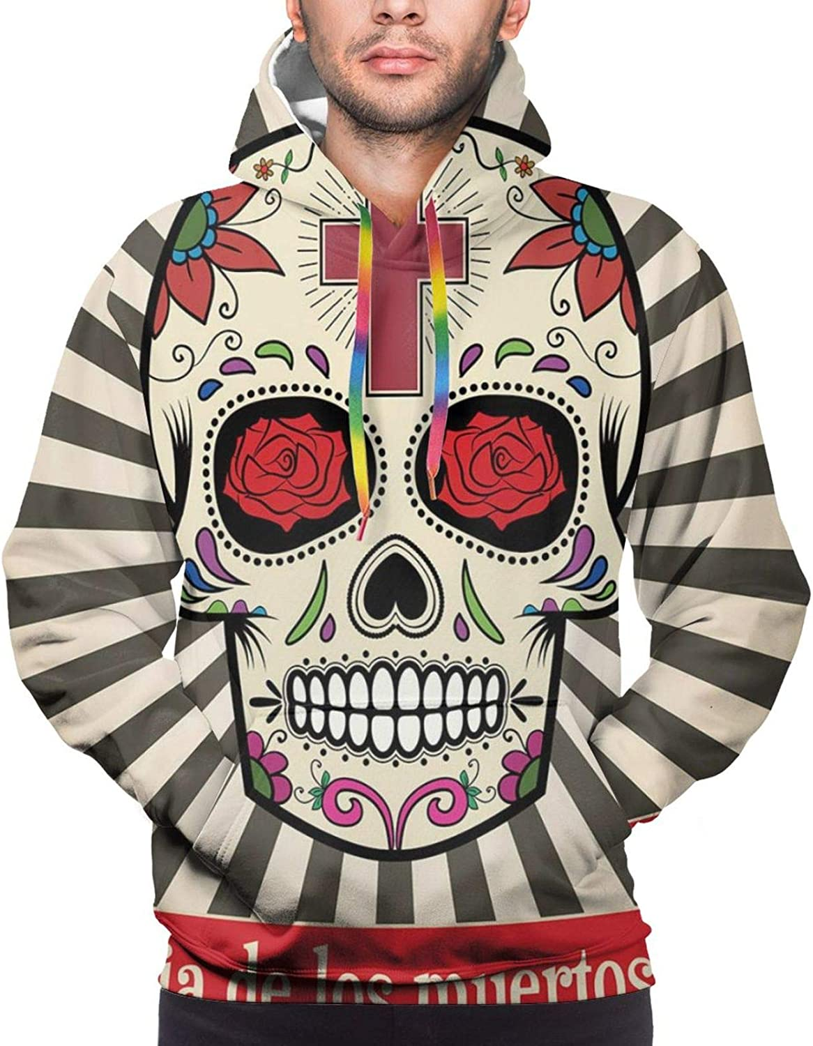Men's Hoodies Sweatshirts,Floral Daisies Abstract Oriental Details and Leaves with Sun Like Art Print