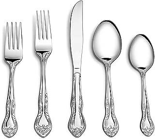 Sittikatechai 20 Pcs Stainless Steel Cutlery Flatware Set, 4Sets of Silverware sets 5Pcs per set Town&Country Pattern