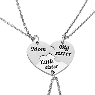 Nimteve 3PCS Mother Daughter Gifts - Mom Big Sister Little Sister Keychain Necklace Matching Jewelry Set for Mother Daughters