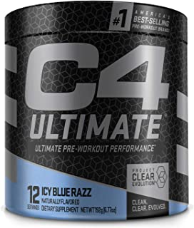 C4 Ultimate Pre Workout Powder ICY Blue Razz | Sugar Free Preworkout Energy Supplement for Men & Women | 300mg Caffeine + ...