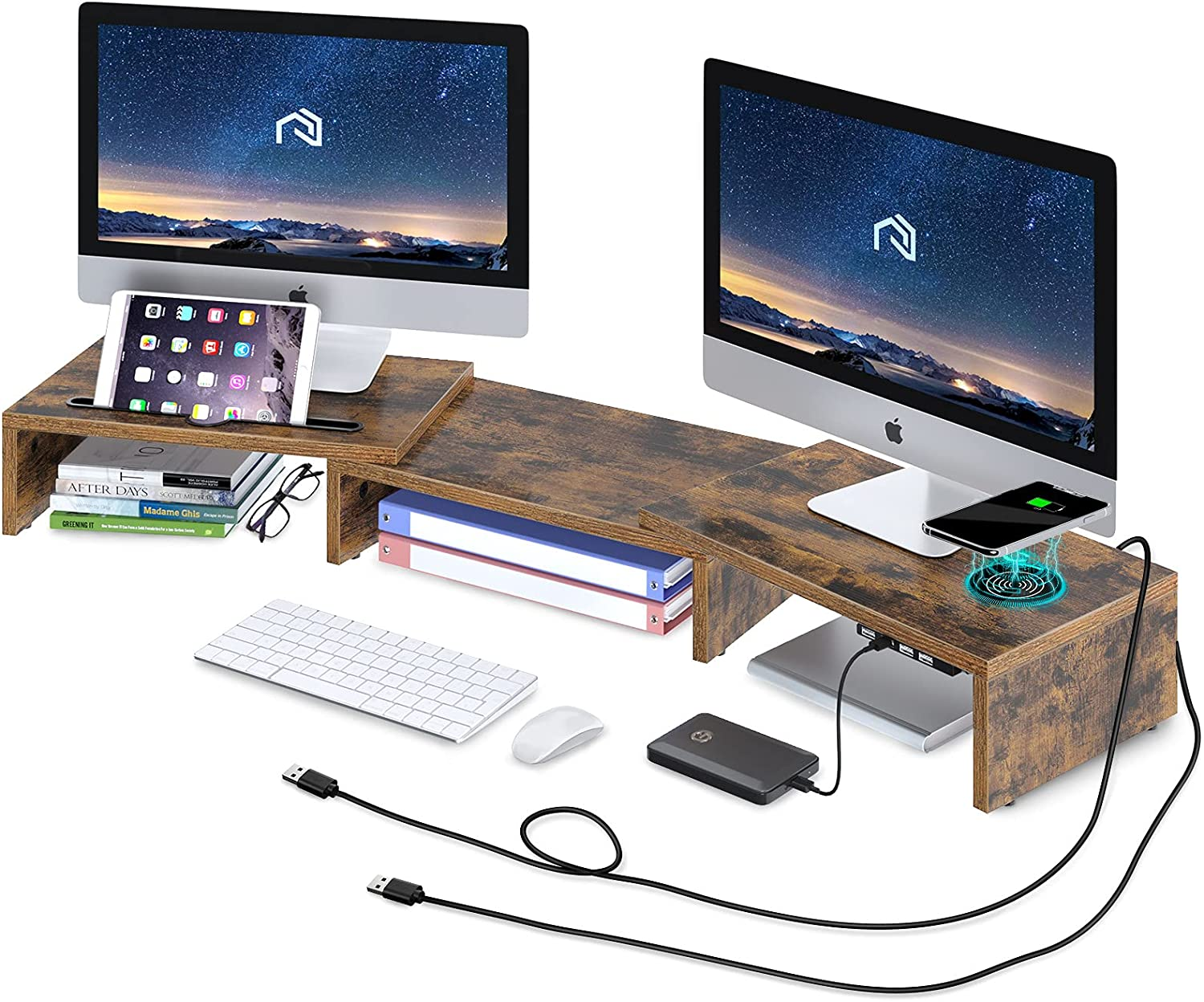 Rolanstar Monitor Stand Riser with Wireless Charging and 4 USB Ports Support Data Transfer and Charging, Dual Monitor Computer Stand, Adjustable Desk Organizer Stand for Laptop/Computer, Rustic Brown
