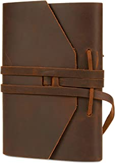 Juvale Leather Bound Journal Notebook Diary, Blank Unlined Paper, 5 x 7 inches
