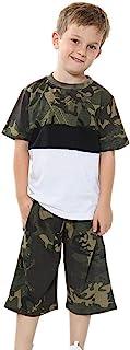 Kids Girls Boys T Shirt 100% Cotton Camouflage Green Contrast Panelled Short Set