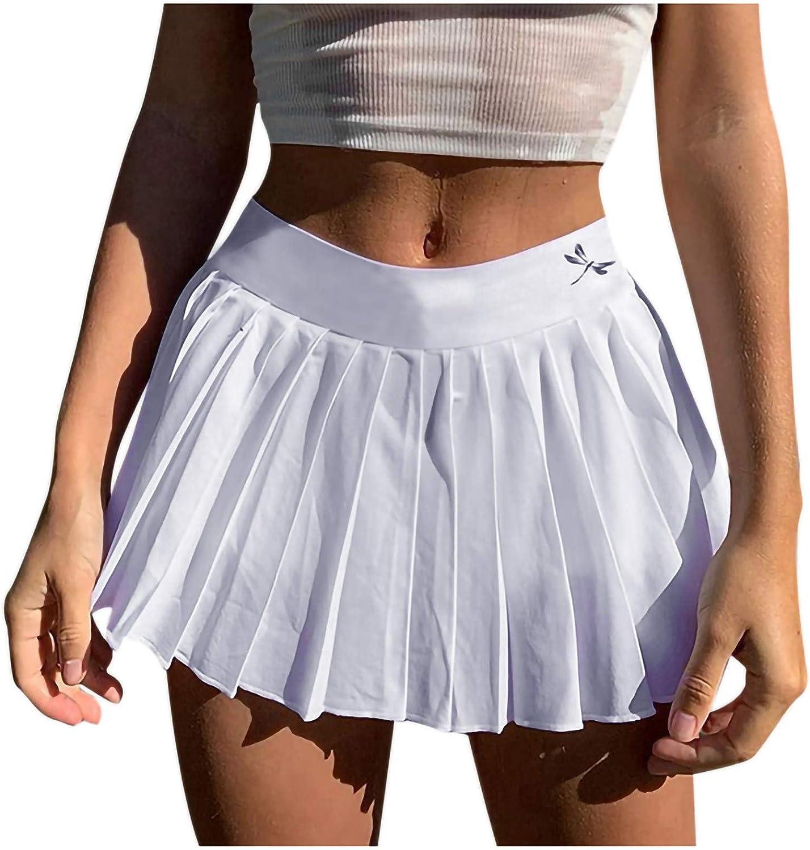 XCeihe Women's Fashion Animal Print & Solid Color Skirt High Waist Slim Pleated Skirt Dress Casual Mini Skater Skirt