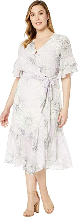 Plus Size Tiered Ruffle Sleeve Blossoms Wrap Dress