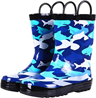 Toddler Kids Rain Boots with Easy On Handles, Waterproof Rubber Cute Patterns Wellies Rainboots for Girls & Boys