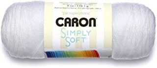 Caron Simply Soft Solids Yarn (4) Medium Gauge 100% Acrylic – 6 oz –  White ..
