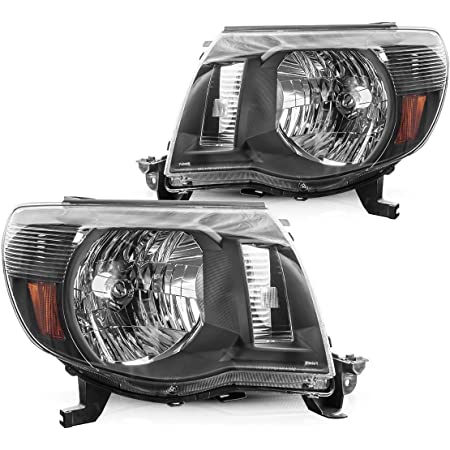 Torchbeam Headlight Assembly for 2005 2006 2007 2008 2009 2010 2011 Tacoma Headlights Black Housing Amber Reflector Clear Lens Passenger and Driver Side