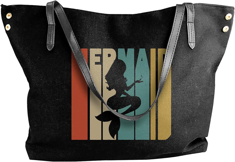 Retro Style Mermaid Silhouette1 Women'S Casual Canvas Sling Bag For Shopping Handbag