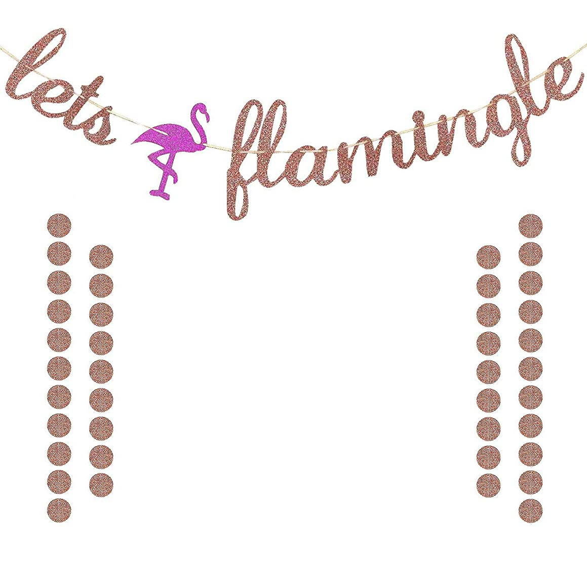 Lets flamingle Banner Rose Gold Glittery for Summer Hawaiian Luau Flamingo Party Bachelorette Party Bridal Shower Party Decorations Supplies | Extra Rose Gold Glittery Circle Dots Garland