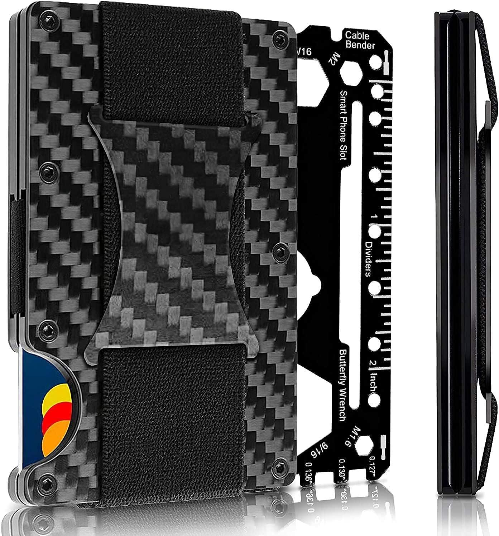 tessa USA Minimalist Carbon Fiber Slim Wallet | RFID Blocking Front Pocket Wallet | Carbon Fiber Money Clip | Credit Card Holder for Men (black)