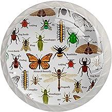 AITAI Insecten Naadloze Patroon Ronde Kabinet Knop 4 Pack Trekt Handvatten