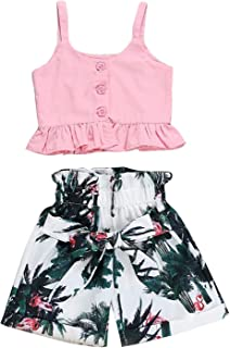 Summer Toddler Baby Girls Ruffle Vest Crop Tops+Floral Wide Leg Pants Outfits