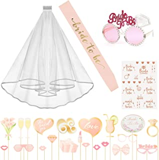 N&T NIETING Bachelorette Party Bride Decoration Accessories Kit, Bride to be Sash, Bridal Veil with Comb, Sunglasses, Rose Gold Tattoos, Photo Booth Props for Bridal Showr Hen Night Party Supplies