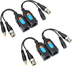 Xenocam 2 Pair Passive Video HD-TVI/CVI/AHD Balun 1080P - 5MP BNC to RJ45 Long Distance Network Transceiver for Full HD Security Surveillance Camera (BNC to RJ45 Adapter Small)