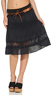 Malito Women's Skirt with Floral Knitted Pattern Bell Skirt with Belt Summer Skirt with Lace Mini Skirt 16167