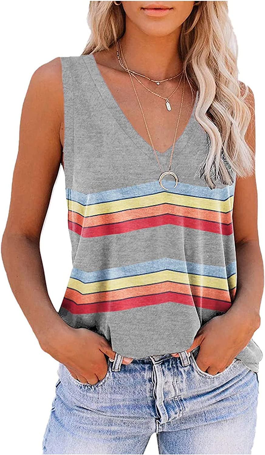 Tank Top for Women Summer,Womens Tank Tops Summer Sleeveless Tunic Tops Casual Loose Fit Blouse Tshirts Shirts