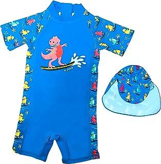 Baby Boys One Piece Blue Dinosaur Rash Guard Swimwear Sun Protection UPF50+ Beach Bathing Suits Quick Dry Swimsuits 105/115