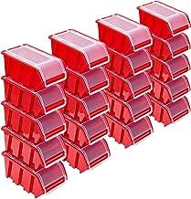 Stapelboxenset – 20x stapelbox met deksel 195x120x90 mm – kijkbox stapelbox opbergbox, rood