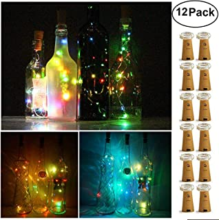 Decem Wine Bottle Lights with Cork 12 Pcs 15 LEDs Warm White Cork Shape Silver Copper Wire Battery Powered LED Fairy String Lights for DIY/Decor/Party/Wedding/Christmas/Halloween (5 Colors)