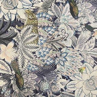 Tela de decoración por metros estampada digital - Viscosa, lino - Ancho 150 cm - Largo a elección de 50 en 50 cm | Selva y animales - Negro, azul, beige